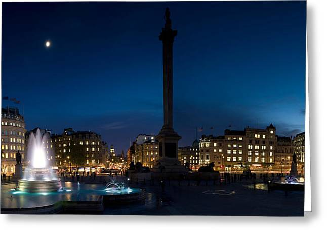 Town Square Greeting Cards - Trafalgar Square At Night, London Greeting Card by Panoramic Images