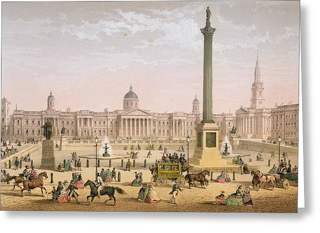 Trafalgar Square, C.1862 Greeting Card by Achille-Louis Martinet