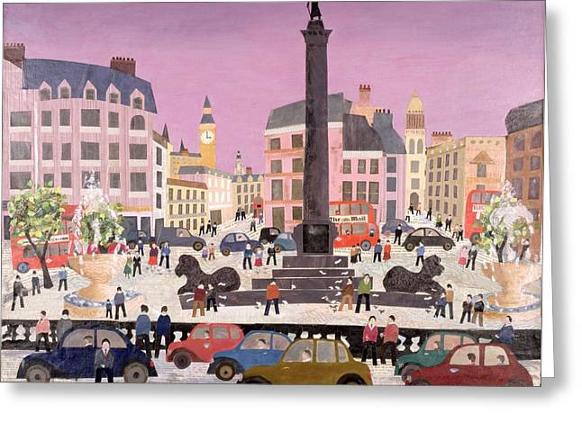 Double Decker Greeting Cards - Trafalgar Square Collage Greeting Card by William Cooper