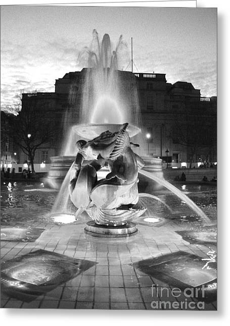 Terri Waters Greeting Cards - Trafalgar Square Fountain in Black and White Greeting Card by Terri  Waters