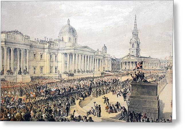 Royalty Greeting Cards - Trafalgar Square, From A Memorial Greeting Card by English School