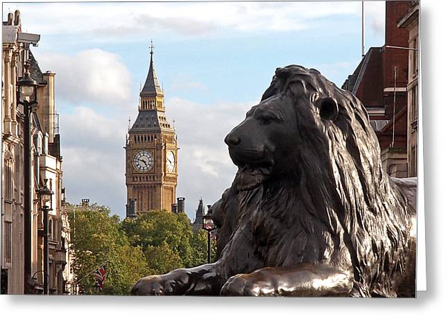 Large Clock Greeting Cards - Trafalgar Square Lion with Big Ben Greeting Card by Gill Billington