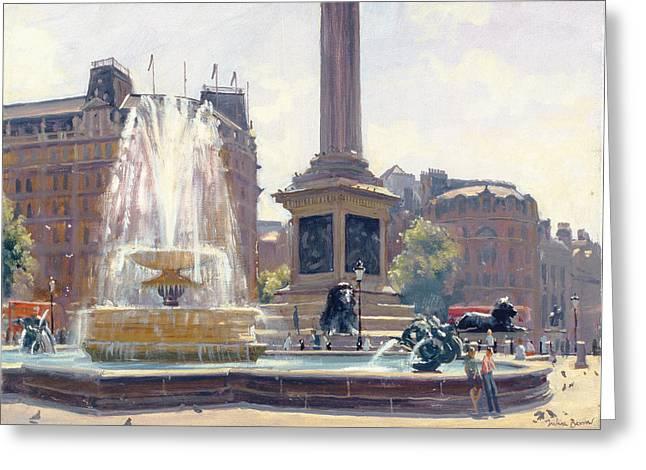 Urban Lion Greeting Cards - Trafalgar Square, London Oil On Canvas Greeting Card by Julian Barrow