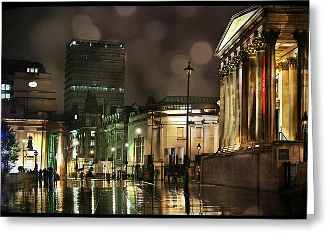 Trafalgar Greeting Cards - Trafalgar Square Rain Greeting Card by Heidi Hermes