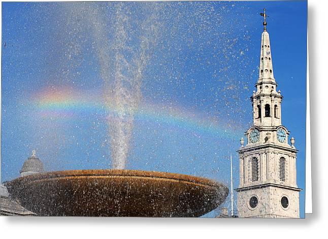 Trafalgar Greeting Cards - Trafalgar Square Rainbow Horizontal Greeting Card by Heidi Hermes