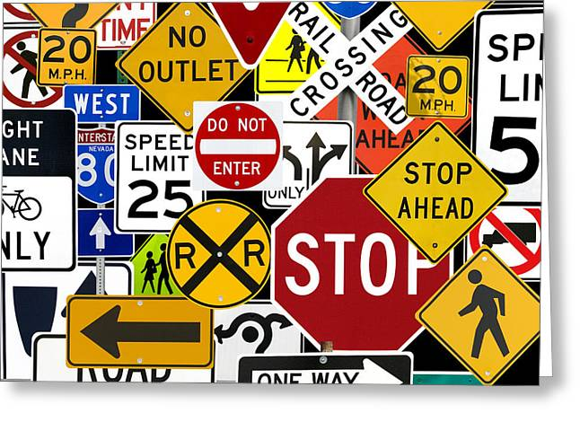 Traffic Control Greeting Cards - Traffic Control Signs On Black Greeting Card by Russell Shively