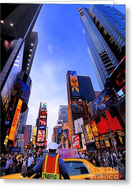 Billboard Greeting Cards - Traffic Cop in Times Square New York City Greeting Card by Amy Cicconi