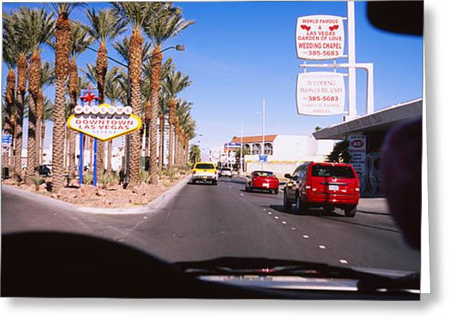 Traffic Greeting Cards - Traffic Entering Downtown, Las Vegas Greeting Card by Panoramic Images
