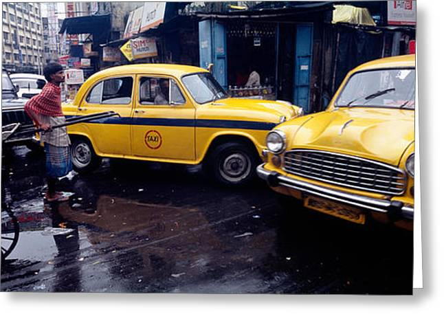 Monsoon Greeting Cards - Traffic In A Street, Calcutta, West Greeting Card by Panoramic Images
