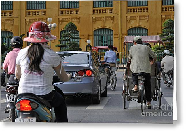 Traffic In Downtown Hanoi Greeting Card by Sami Sarkis