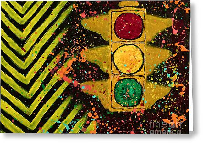 80s Greeting Cards - Traffic Jam Cropped Greeting Card by Marina McLain