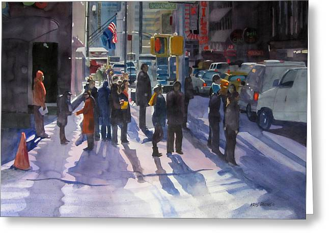 Midtown Paintings Greeting Cards - Traffic Light Greeting Card by Kris Parins
