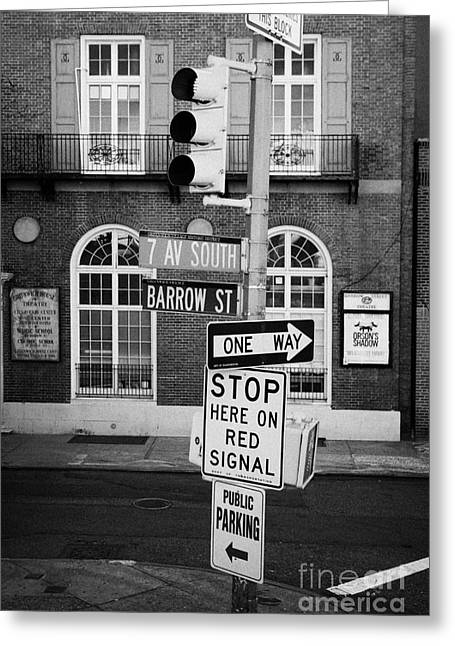 Manhatan Greeting Cards - traffic lights and collection of street signs 7th Ave South Barrow Street greenwich village new york Greeting Card by Joe Fox