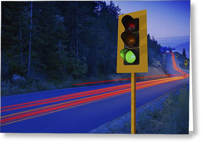 Go Forward Greeting Cards - Traffic Lights On A Highway Greeting Card by Don Hammond