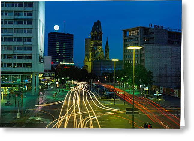 Traffic Greeting Cards - Traffic Moving On A Road, Berlin Greeting Card by Panoramic Images