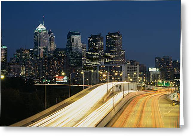 Headlight Greeting Cards - Traffic Moving On A Road, Philadelphia Greeting Card by Panoramic Images