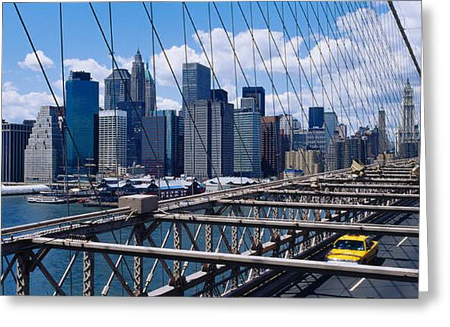 Famous Bridge Greeting Cards - Traffic On A Bridge, Brooklyn Bridge Greeting Card by Panoramic Images