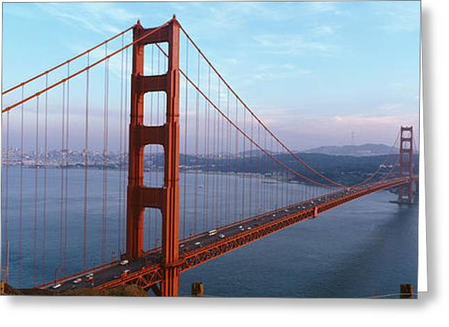 Traffic Greeting Cards - Traffic On A Bridge, Golden Gate Greeting Card by Panoramic Images