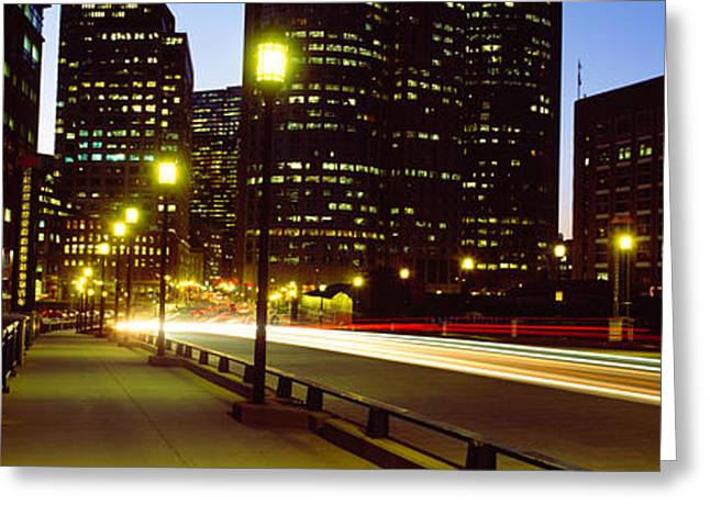 Boston Light Greeting Cards - Traffic On A Bridge In A City, Northern Greeting Card by Panoramic Images