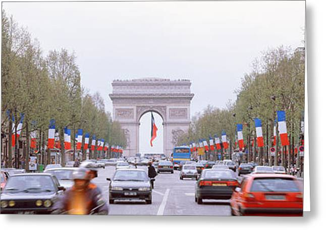 Arc De Triomphe Greeting Cards - Traffic On A Road, Arc De Triomphe Greeting Card by Panoramic Images