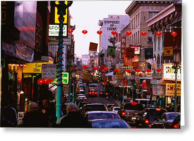 Chinese Lanterns Greeting Cards - Traffic On A Road, Grant Avenue Greeting Card by Panoramic Images