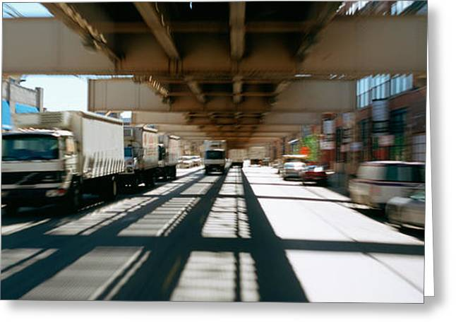 Cargo Train Greeting Cards - Traffic On A Road, Lake Street Greeting Card by Panoramic Images