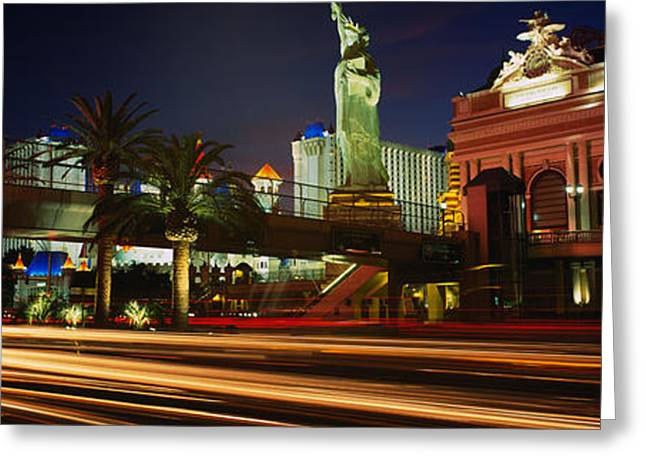 Traffic On A Road, Las Vegas, Nevada Greeting Card by Panoramic Images