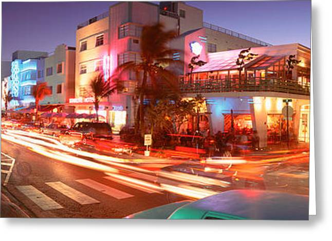Panoramic Ocean Greeting Cards - Traffic On A Road, Ocean Drive, Miami Greeting Card by Panoramic Images
