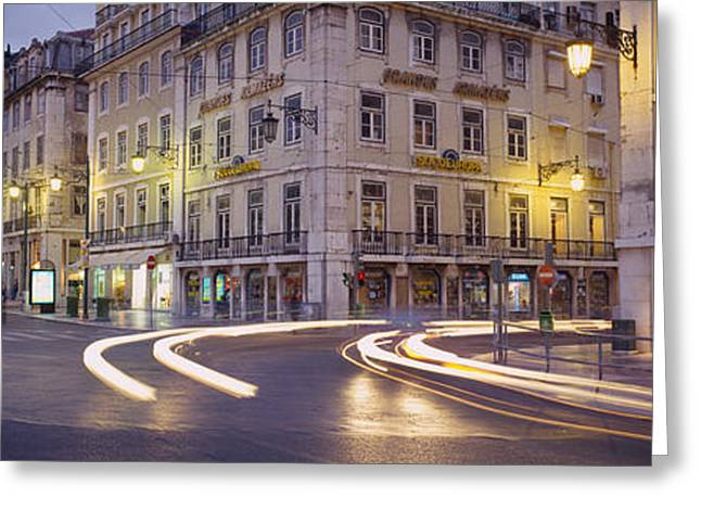 Traffic Greeting Cards - Traffic On A Road, Praca De Figueira Greeting Card by Panoramic Images