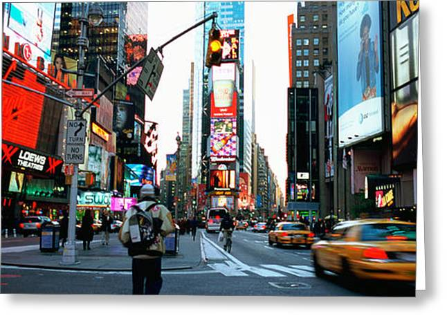 Life Speed Greeting Cards - Traffic On A Road, Times Square, New Greeting Card by Panoramic Images