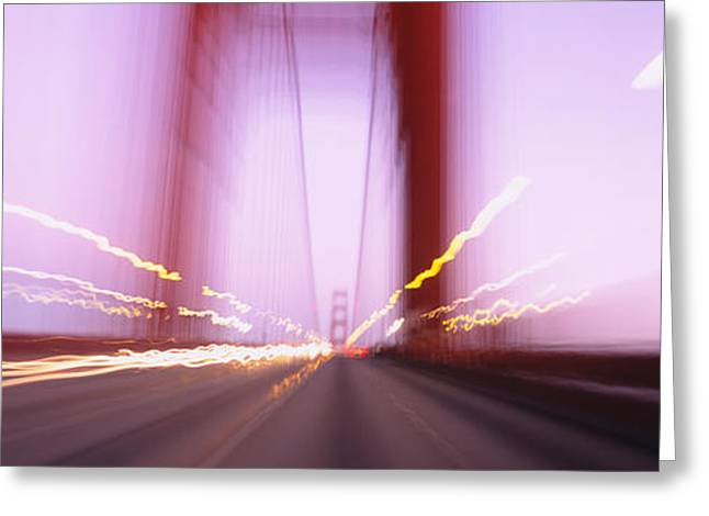 Headlight Greeting Cards - Traffic On A Suspension Bridge, Golden Greeting Card by Panoramic Images