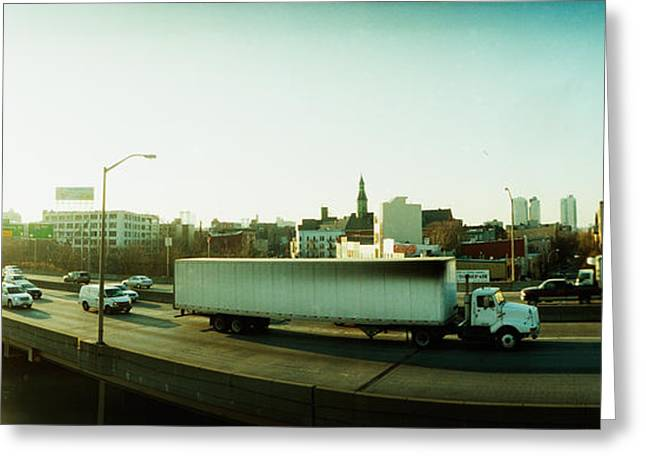 Traffic Greeting Cards - Traffic On An Overpass, Brooklyn-queens Greeting Card by Panoramic Images