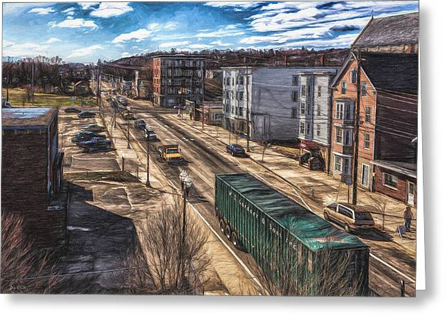 Traffic On Lincoln Street Greeting Card by Bob Orsillo