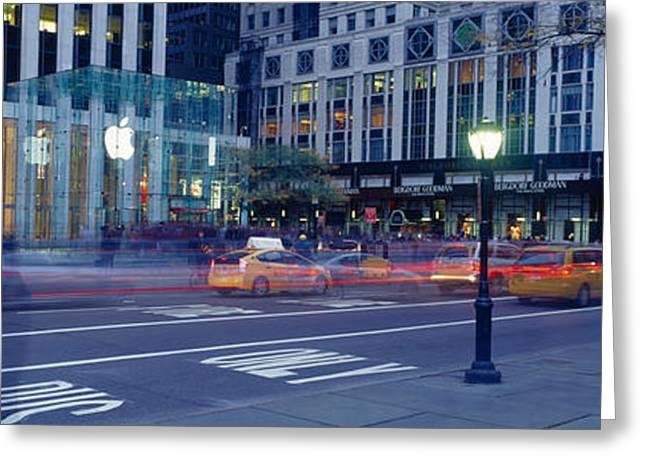 Fifth Avenue Greeting Cards - Traffic On The Road, Fifth Avenue Greeting Card by Panoramic Images