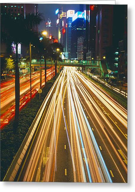 Headlight Greeting Cards - Traffic On The Road, Hong Kong, China Greeting Card by Panoramic Images