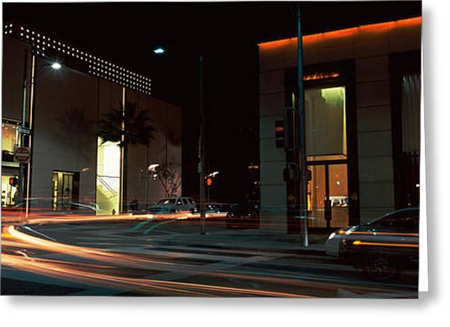 Headlight Greeting Cards - Traffic On The Road, Rodeo Drive Greeting Card by Panoramic Images