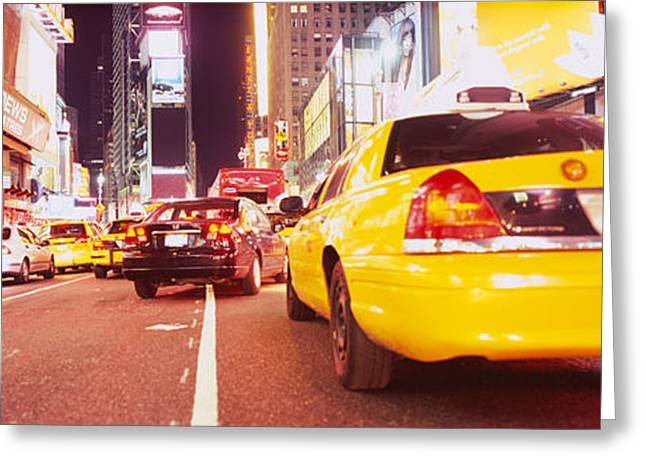 Road Marking Greeting Cards - Traffic On The Road, Times Square Greeting Card by Panoramic Images