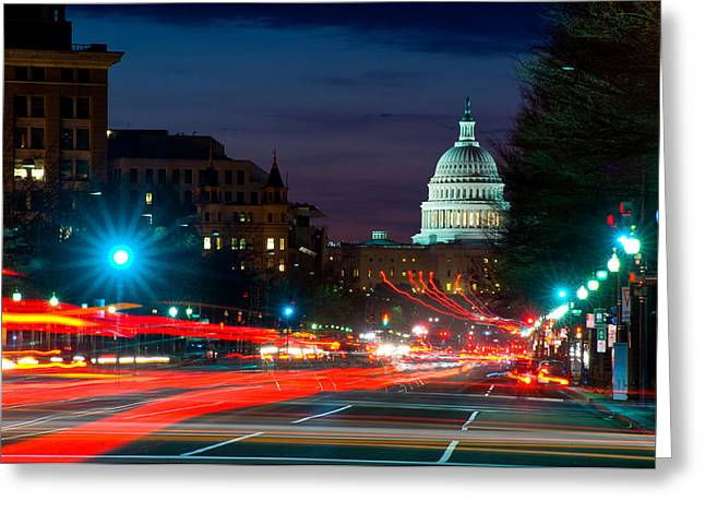 Capitol Greeting Cards - Traffic On The Road With State Capitol Greeting Card by Panoramic Images