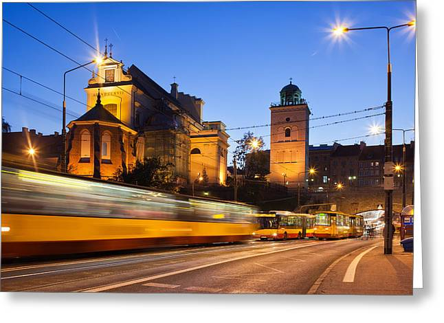 Night Lamp Greeting Cards - Traffic on the Solidarity Avenue in Warsaw Greeting Card by Artur Bogacki