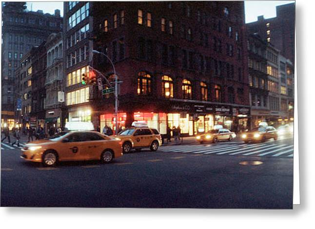 Fifth Avenue Greeting Cards - Traffic On The Street At Night, 23rd Greeting Card by Panoramic Images