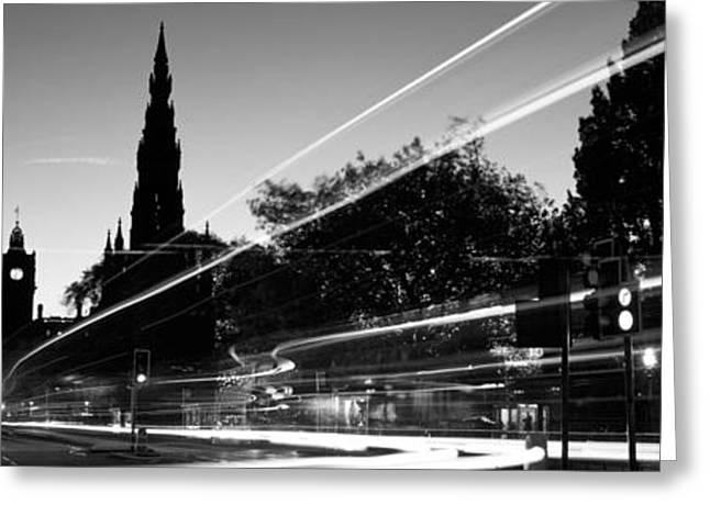 Headlight Greeting Cards - Traffic On The Street, Princes Street Greeting Card by Panoramic Images