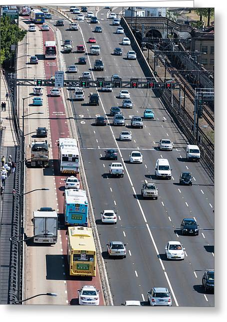 On The Move Greeting Cards - Traffic On The Sydney Harbour Bridge Greeting Card by Panoramic Images