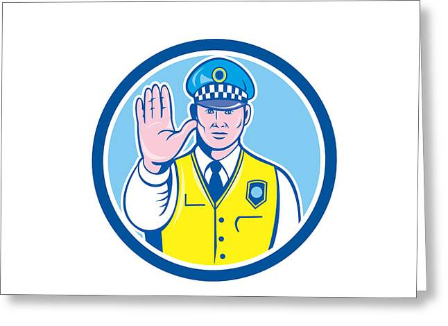 Police Officer Greeting Cards - Traffic Policeman Hand Stop Sign Circle Cartoon Greeting Card by Aloysius Patrimonio