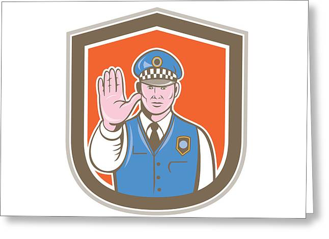 Police Cartoon Greeting Cards - Traffic Policeman Hand Stop Sign Shield Cartoon Greeting Card by Aloysius Patrimonio