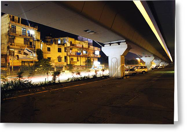 Traffic Running Beneath Flyover Greeting Card by Sumit Mehndiratta