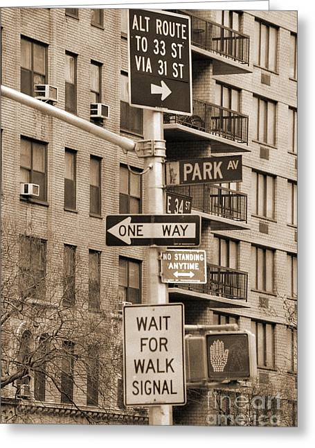 Traffic Sign Greeting Cards - Traffic signs in Manhattan vintage look Greeting Card by RicardMN Photography