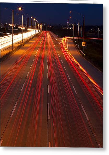 Driving Greeting Cards - Traffic Trails at Twilight Greeting Card by Andrew Soundarajan