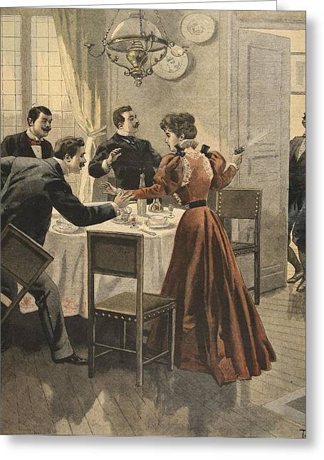 Pistol Drawings Greeting Cards - Tragic End To A Lunch, Illustration Greeting Card by French School
