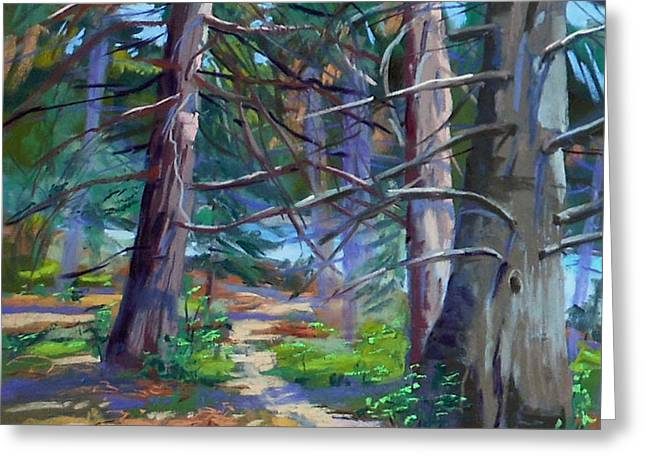 Mills Pastels Greeting Cards - Trail at Burnt Mill Beach Greeting Card by Patricia Rose Ford