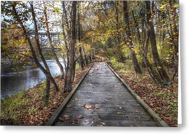 Trail At The River Greeting Card by Debra and Dave Vanderlaan